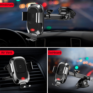 Image 2 - Baseus Car Phone Holder for iPhone Samsung Intelligent Infrared Qi Car Wireless Charger Air Vent Mount Mobile Phone Holder Stand