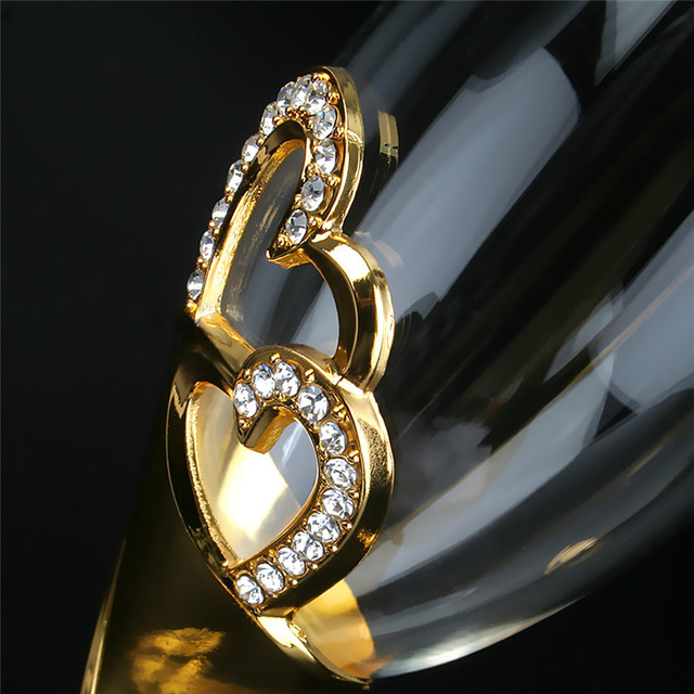 2Pcs/Set Crystal  Gold Metal Stand Flutes Wine Glasses  4
