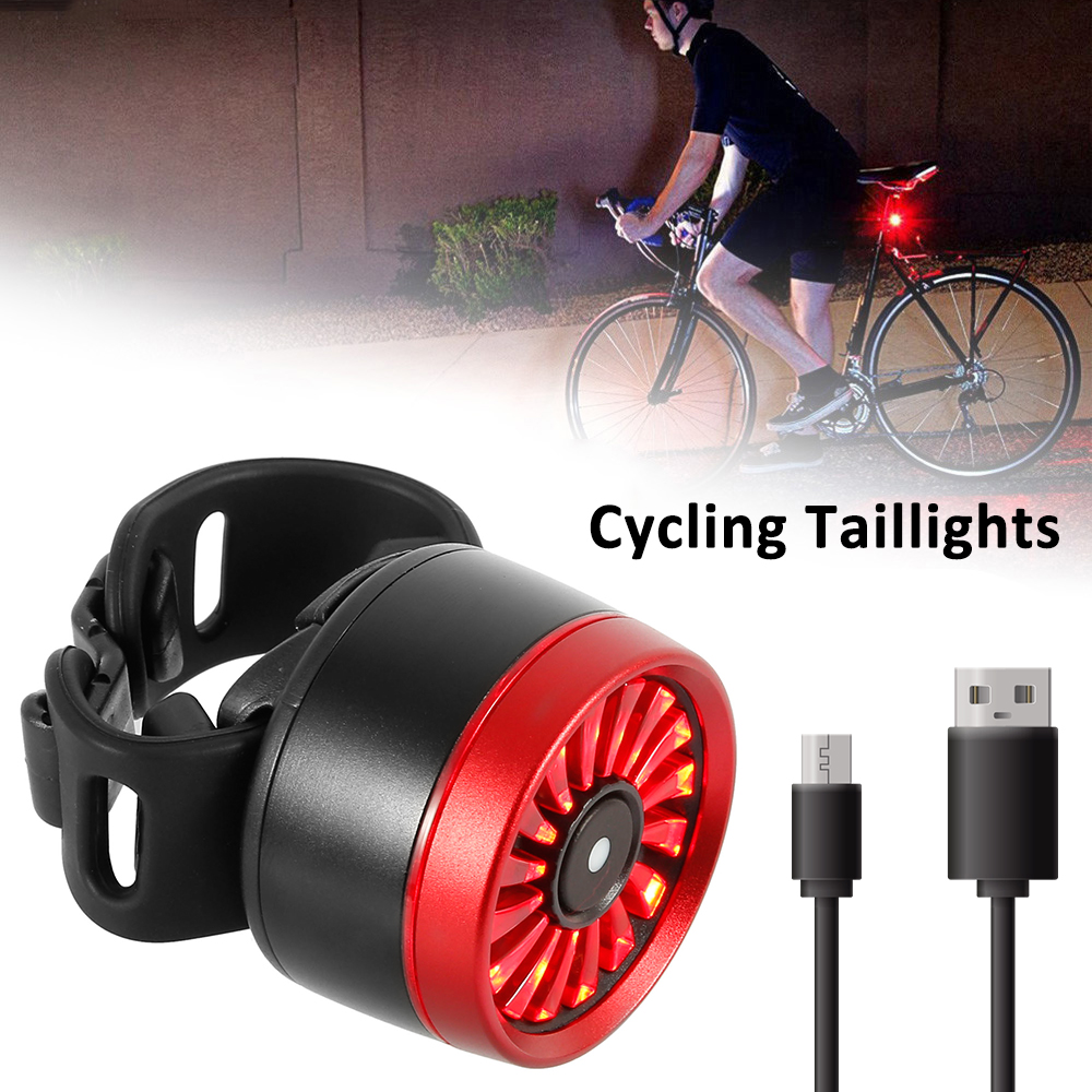 Gravity Sensing LED USB Rechargeable COB Smart Brake Bike Rear Light Taillight a