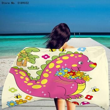 Sport pływanie chłopiec ręcznik kąpielowy ręcznik kąpielowy dla dzieci lato ręcznik plażowy zwierzęta kreskówkowe ręcznik dinozaur ręcznik plażowy szybkoschnący ręcznik tanie i dobre opinie CN (pochodzenie) Beach Towel Bez wzorków Z dzianiny Rectangle 480g St-01 można prać w pralce 11 s-15 s Drukuj mikrofibra