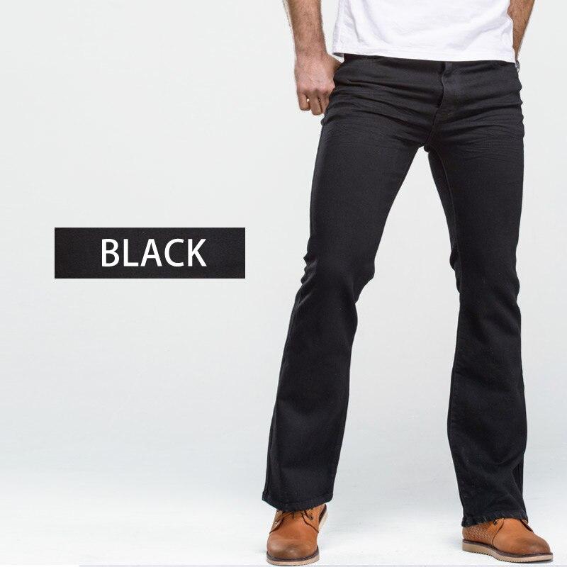 Men's Boot Cut Jeans Slightly Flared Slim Fit Famous Brand Blue Black jeans Designer Classic Male Stretch Denim jeans 5