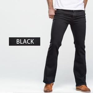 Image 5 - Mens Boot Cut Jeans Slightly Flared Slim Fit Famous Brand Blue Black jeans Designer Classic Male Stretch Denim jeans