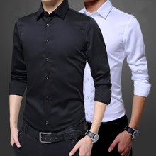 Men's Slim Fit Long Sleeve Shirt Correct Dress Occupation Male Solid Color Casual Button Social Business Dress Shirt