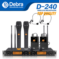 Top quality!!!All metal Debra Audio D 240 4 Channel 4 Handheld UHF Wireless Microphone System For speech Karaoke party