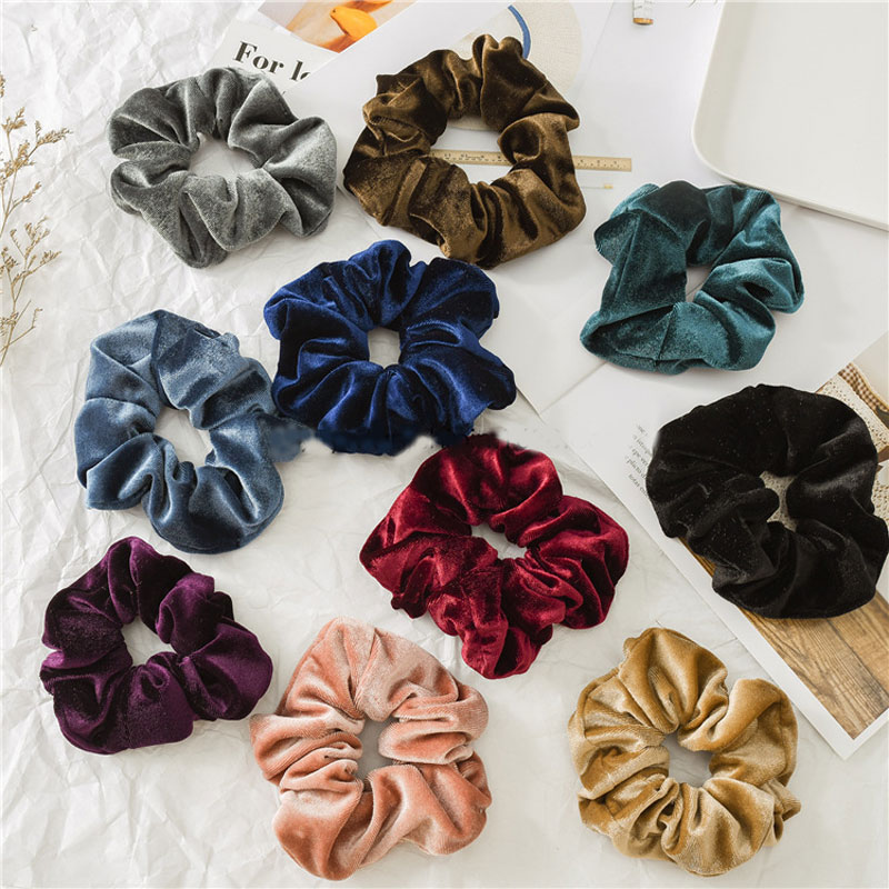 Women Velvet Hair Scrunchies Elastic Hair Bands Solid Color Women Girls Autumn Winter Scrunchie Ponytail Holder Hair Accessories