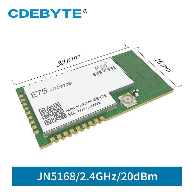 JN5168 Zigbee CDEBYTE E75-2G4M20S 2.4 GHz 100mW récepteur émetteur sans fil SMD 20dBm PCB IPEX 2.4 GHz rf Module émetteur-récepteur