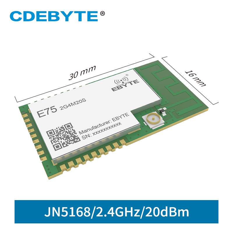 JN5168 Zigbee CDEBYTE E75-2G4M20S 2.4GHz 100mW Wireless Transmitter Receiver SMD 20dBm PCB IPEX 2.4 GHz rf Transceiver Module image