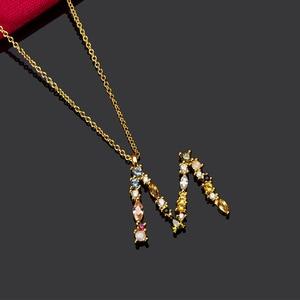 Image 3 - قلادة ANDYWEN عيار 925 من الفضة الإسترلينية والذهبية على شكل حرف M ، قلادة بحروف أبجدية بحروف أبجدية ، مجوهرات إكسسوارات نسائية لعام 2020