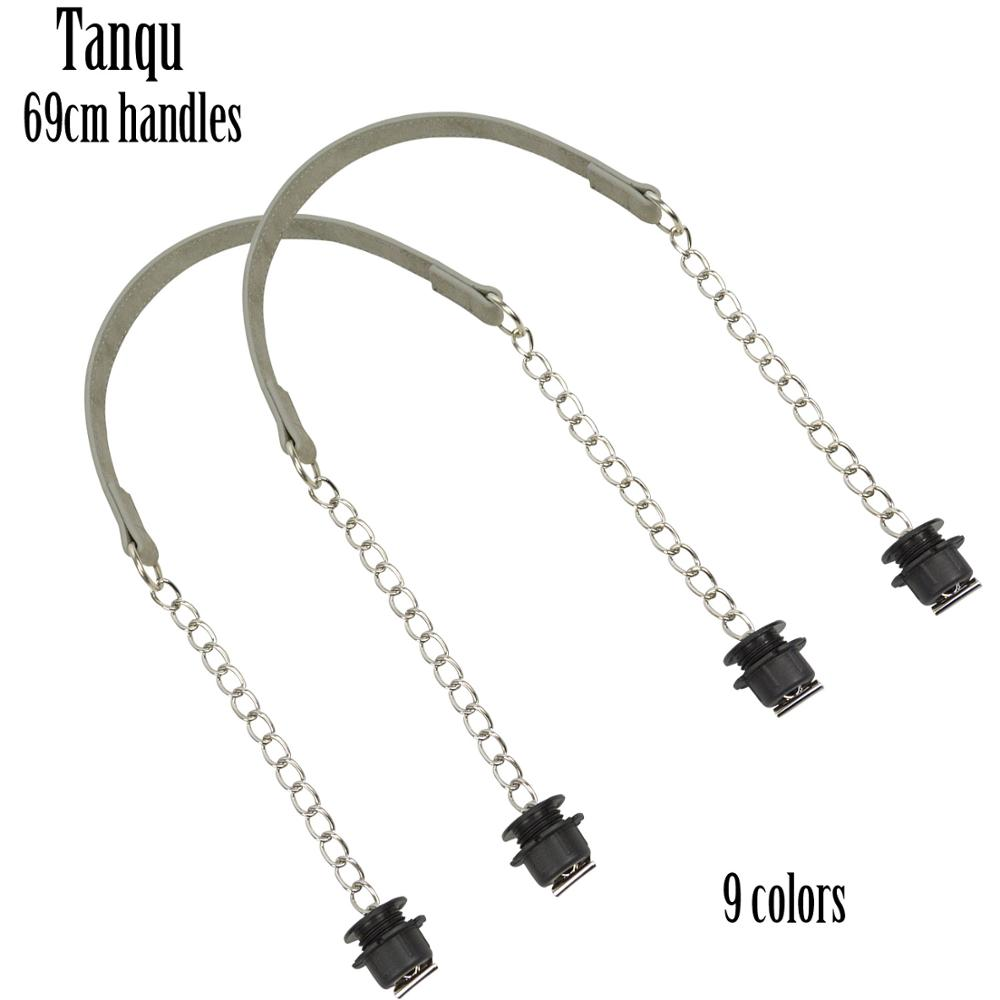 New Tanqu 1 Pair Nubuck Flat Silver Short Thick Single Chain With OT Buckle Black Screws For Obag O Bag Handles For Women Bag