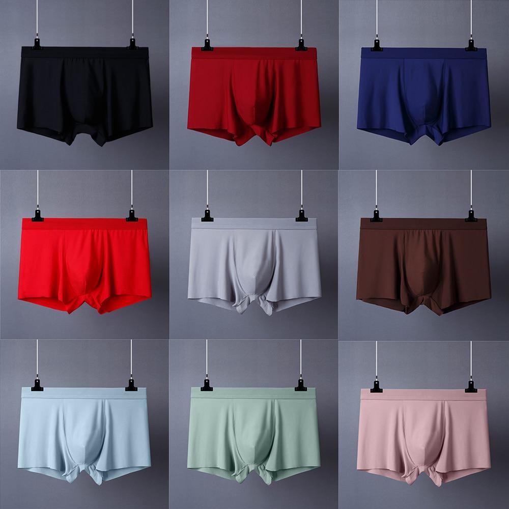 8pcs/lot Seamless Men Boxers Luxury Silk Boxers Underwear Spandex 3D Crotch Boxer Nylon Underwear Shorts Slips