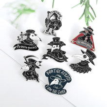 A praga médico broche morte horror pássaro esmalte lapela pino gótico punk múltiplo 18 estilos para mulher jóias masculinas