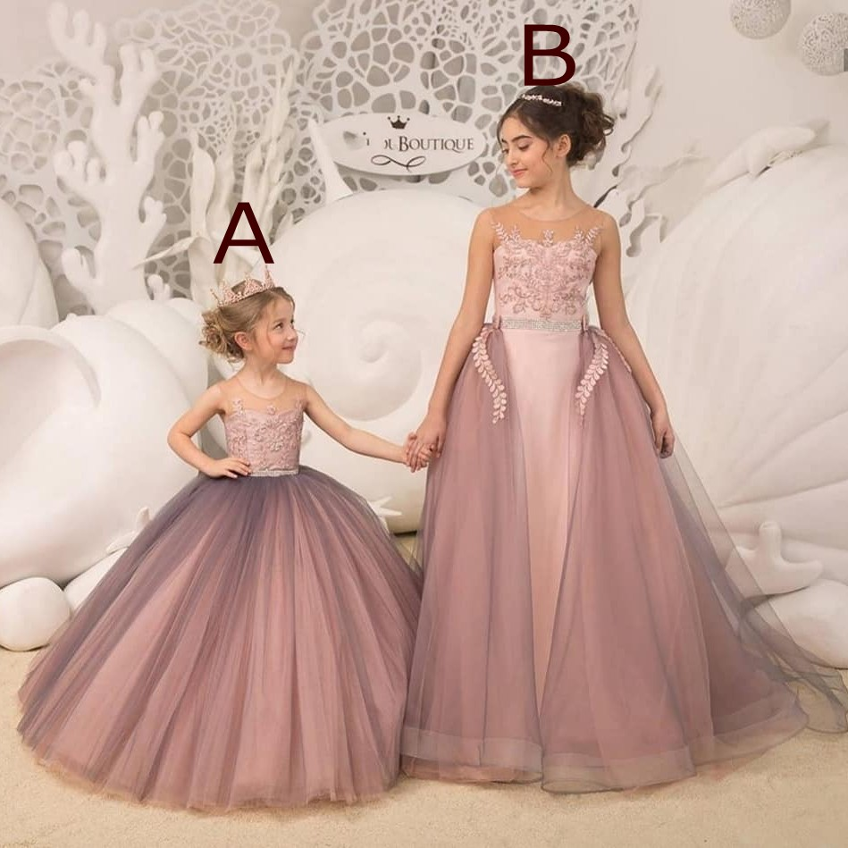 Dusty Pink Long Tulle Flower Girl