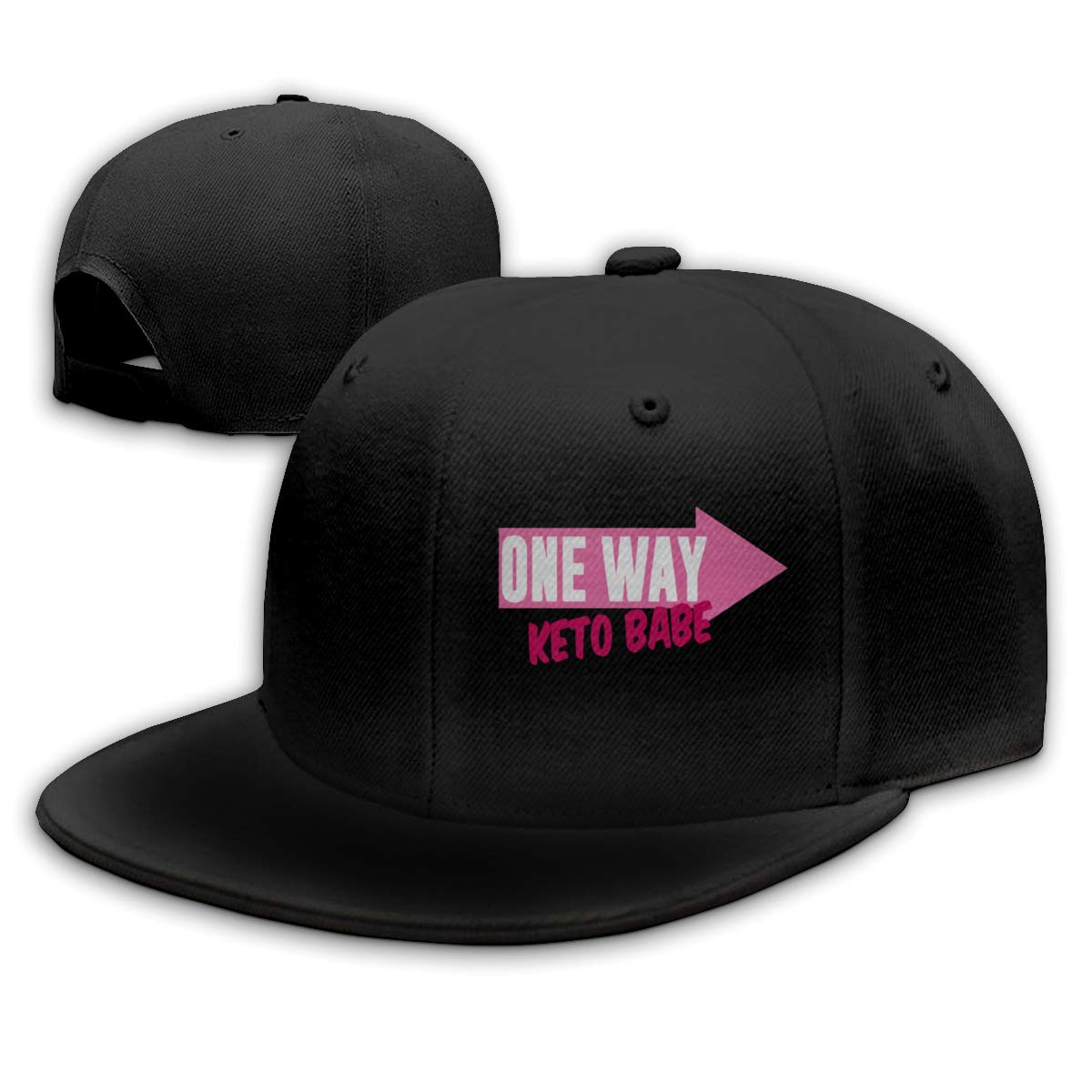 One Way Keto Babe Adjustable Flat Bill Baseball Caps Men Black