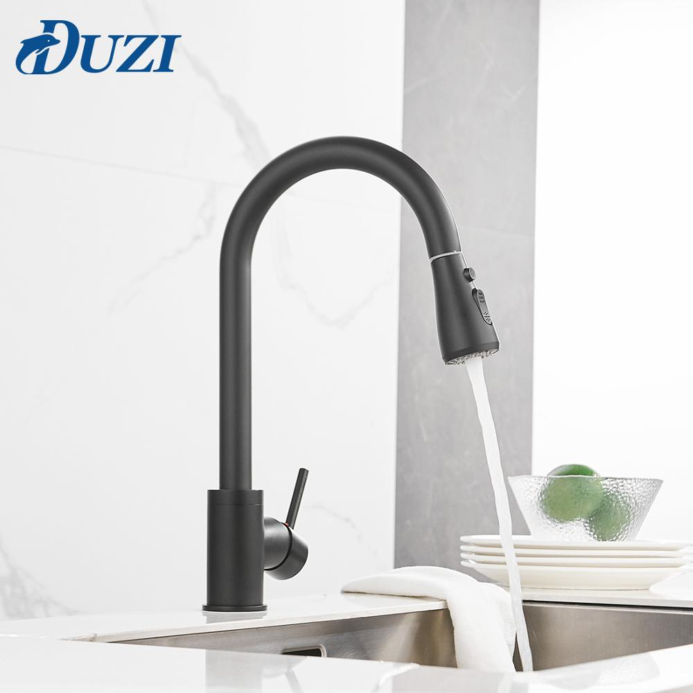 Kitchen Basin Faucet Solid Brass Mixer Pull Out Sink Kitchen Faucet Single Handle Cold & Hot Water Mixer Tap Black Oil Rubbed