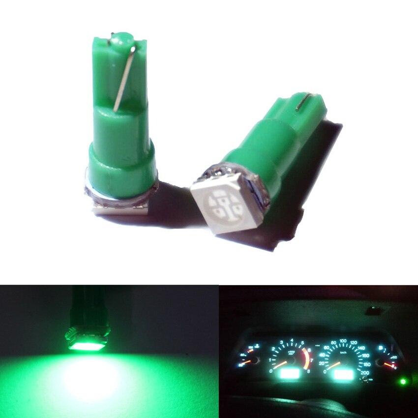 100X Белый t5 led белый инструмент лампы автомобильной двери клин Калибр лампа для чтения панель с предупреждающим индикатором лампы 12 В - Испускаемый цвет: Зеленый