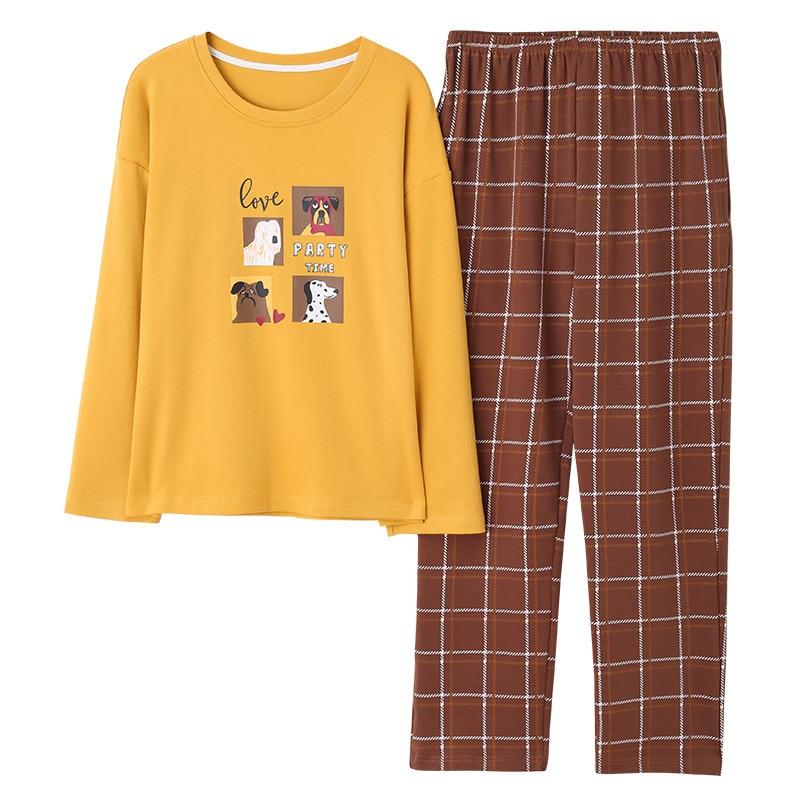 Women's Sleepwear Women's Autumn And Winter Korean-style Cotton Pullover Long Sleeve Pants WOMEN'S Home Wear-Outerwear Set