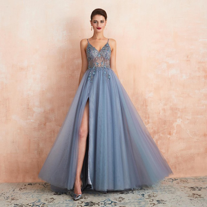Sexy Evening Dresses Beaded Arabic Elegant Long Party Formal Dress Fancy Evening Ceremony Dress Long Pink Night Dress Dubai 2019