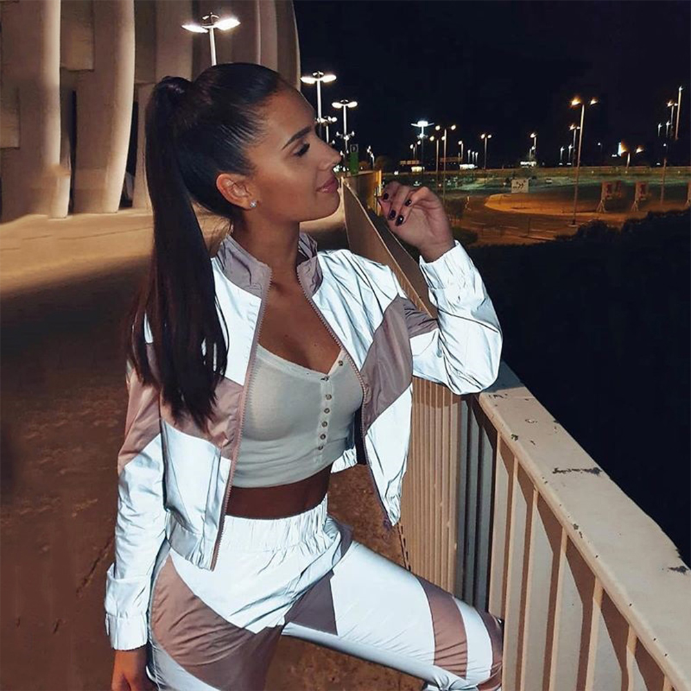 Reflective Womens Tracksuit Set Casual Zipper Two Piece Set Top And Pants Patchwork High Waist Ankle-Length Jogging Femme