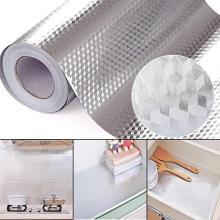 40X100 см Алюминиевая фольга самоклеющиеся водонепроницаемые масляно-стойкие Обои DIY домашняя кухонная мебель стикер украшения настенные наклейки