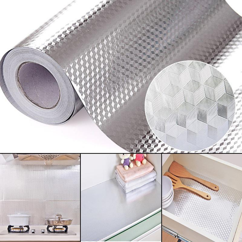 40X100CM papel de aluminio autoadhesivo papel pintado a prueba de aceite DIY hogar cocina muebles pegatina decorar pared declas Borde de espuma banda cintura línea tira 3D adhesivos fondo de pared borde anti-colisión impermeable zócalo pared pegatinas