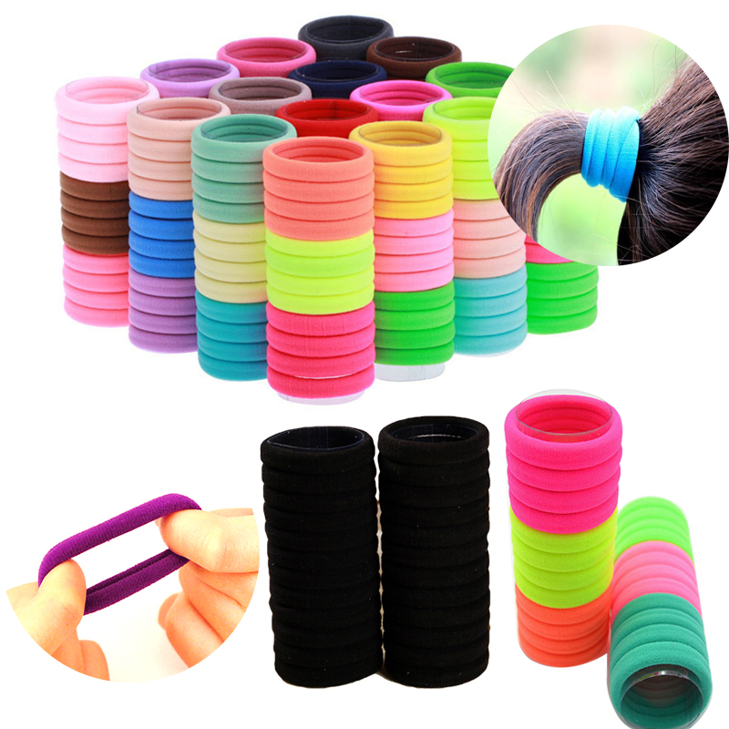 30/50/100pcs Colorful Elastic Hair Bands For Women Girls Hair Rubber Band Rope Ties Gum Black Ponytail Holder Hair Accessories