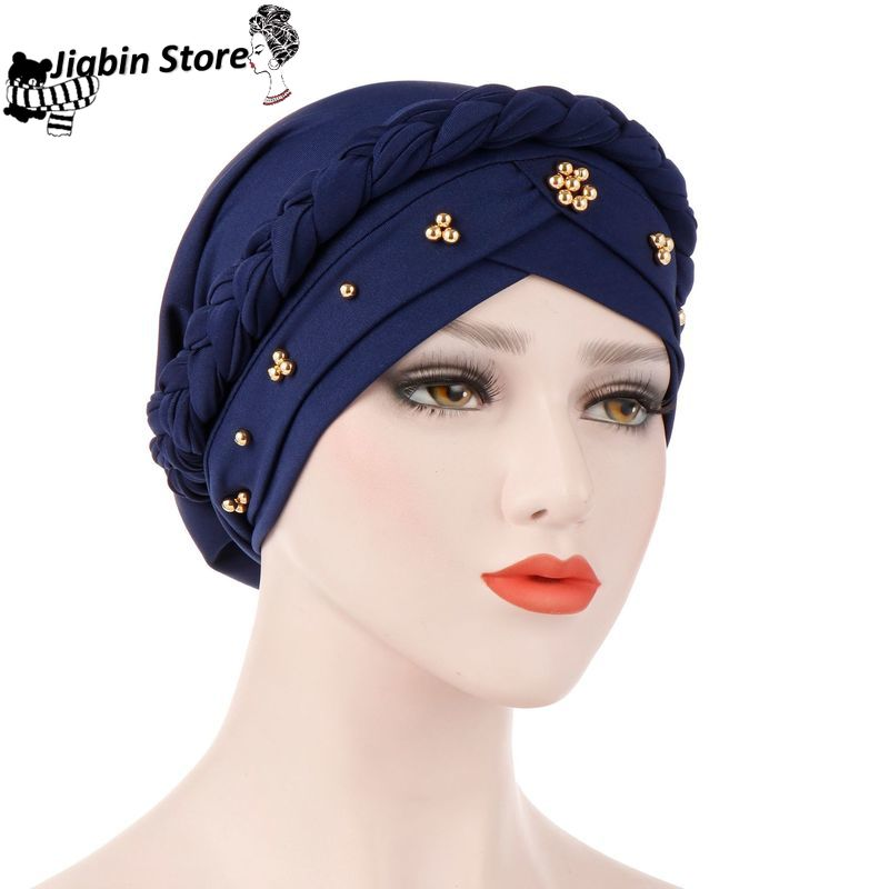 New Women's Hair Care Islamic Jersey Head Scarf Milk Silk Muslim Hijab Beads Braid Wrap Stretch Turban Hat Chemo Cap Head Wrap