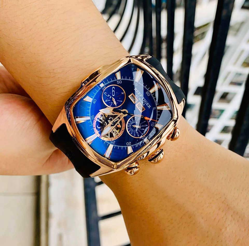 Resif kaplan/RT en marka lüks büyük erkekler için mavi kadran mekanik Tourbillon spor saatler Relogio Masculino RGA3069