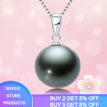 Free Sent Certificate Black Color Pearl 100% 925 Sterling Silver Box Chain Choker Pendant Necklace for Women Silver 925 Jewelry цена 2017