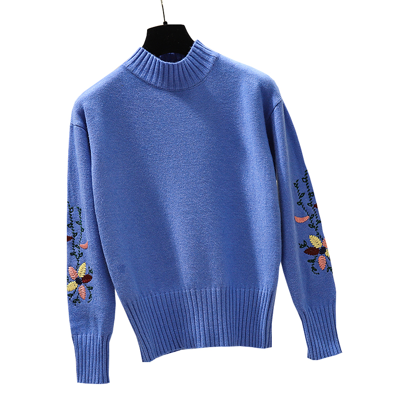 Gkfnmt Turtleneck Sweaters Floral-Embroidery Pullovers Long-Sleeve Women Knitted Winter