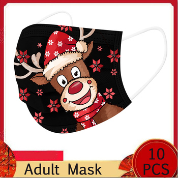 10PC Adult Disposable Unisex Printed Christmas Soft Masks For Adults 3-Layer Masks 3 Ply Hygiene Protective Mascarillas Masque image