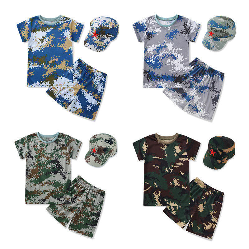 Children Camouflage Suit Students Fitness Training Clothing Quick-dry Short Sleeve T-shirt Summer Camp Outdoor Expansion Clothes