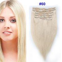 Sindra Indian Straight Remy Hair Clip In Human Hair Extensions Blonde Color #60 Full Sets 6Pcs/Set 100g 120G