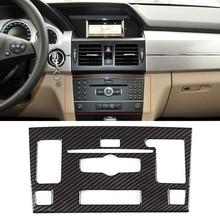 JEAZEA Car Styling Center Console CD Module Frame Decoration Sticker Trim For Mercedes Benz GLK 2010 2012 Auto Accessory