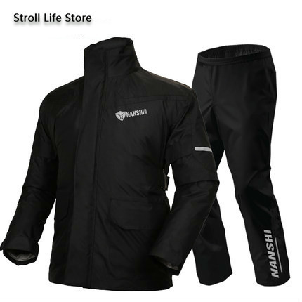 Double Layer Waterproof Rain Coat Pants Set Breathable Reflective Motorcycle Raincoat Riding Men and Women Split Thick Gift 4