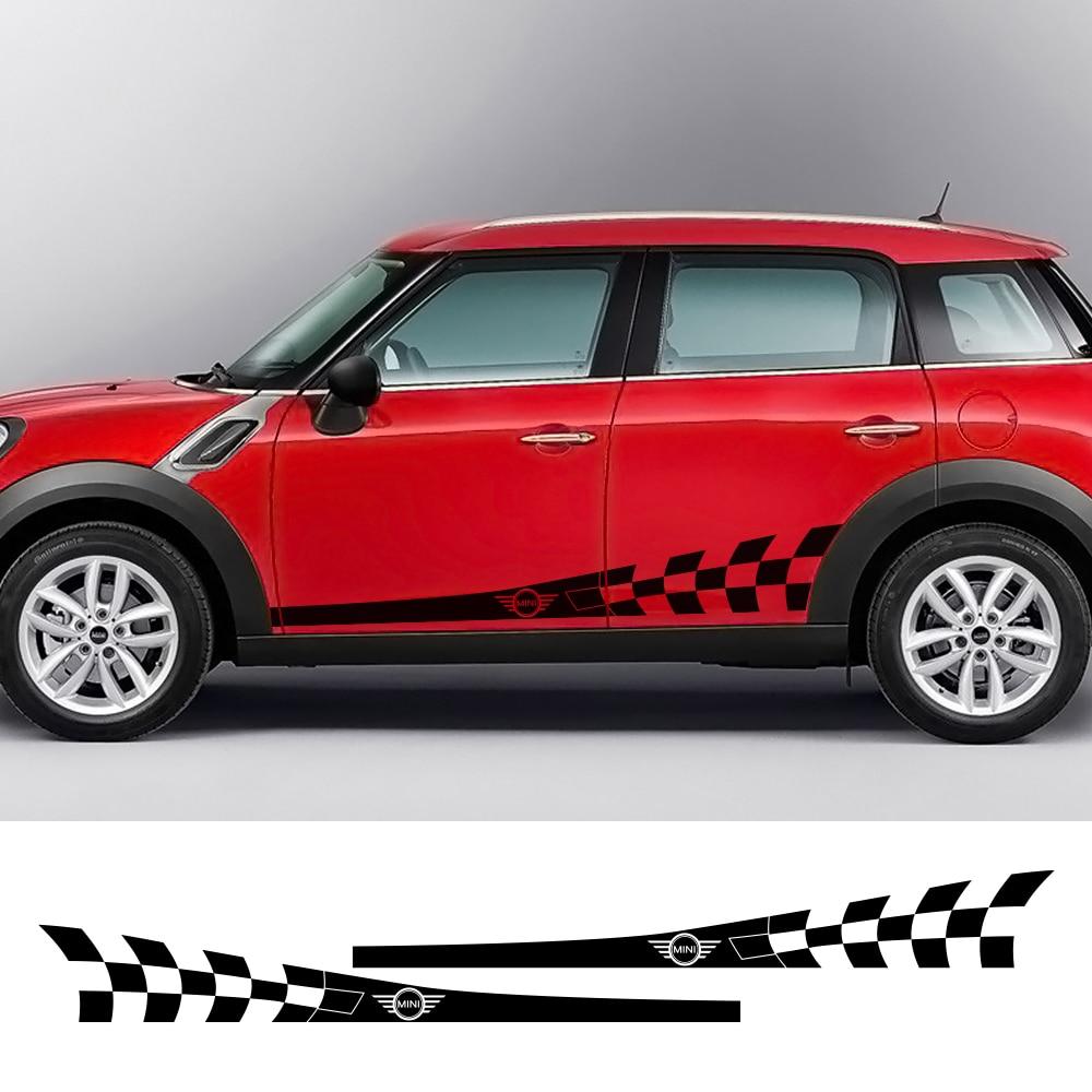 Auto Tür Seite Rock Streifen Aufkleber Körper Checker Aufkleber Aufkleber Für MINI Cooper S Eine JCW F54 F55 F56 F60 r60 R61 Auto Zubehör