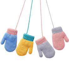 Nowe dziecięce dziecięce rękawiczki zimowe dzianinowe rękawiczki pełne rękawiczki dziecięce dziecięce dziecięce rękawiczki wiszące na szyję tanie tanio CN (pochodzenie)