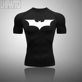 Men Batman T-shirts Men Compression Shirts Sportswear Short Sleeve Tops costume Fitness Body Building Running t-shirt Tops tanie i dobre opinie LHPWTQ Poliester Pasuje prawda na wymiar weź swój normalny rozmiar This is an Asian size usually 1 size smaller than the European size