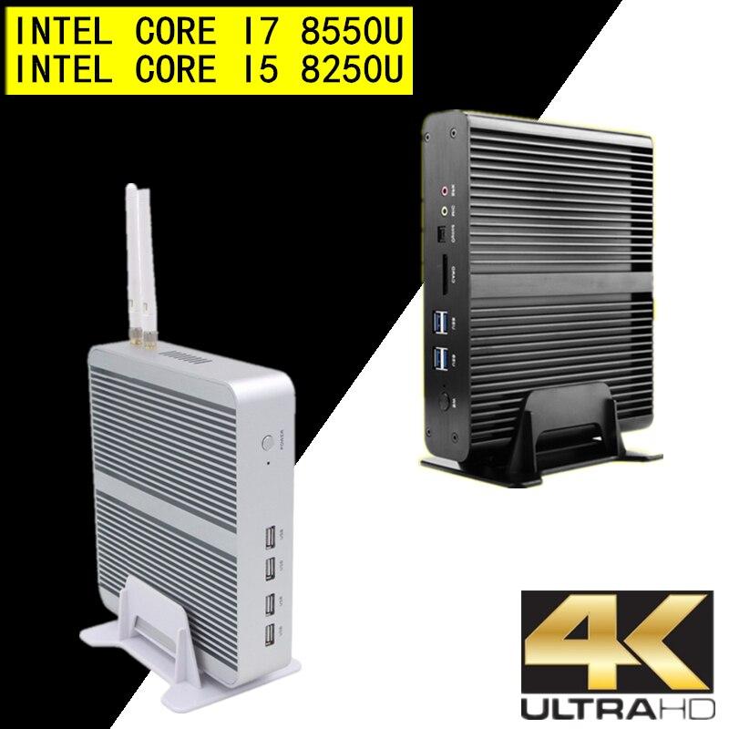Topton Fanless Mini Computer I7 8550U/7560U I5 8250U/7260U 2*DDR4 Msata+M.2 SSD Micro PC Win10 Pro Barebone HTPC Nuc HDMI