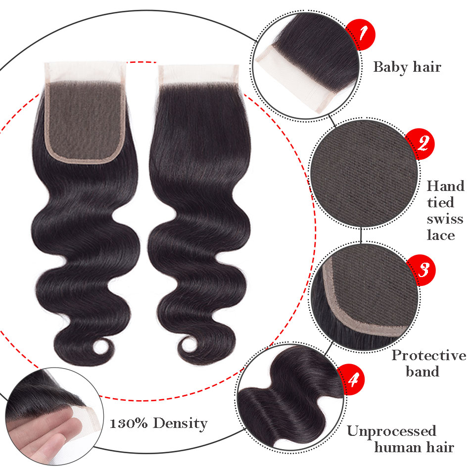 MOBOK-Hair-1-Piece-Malaysian-Body-Wave-Closure-Non-Remy-Hair-Lace-Closures-4-x4-Swiss