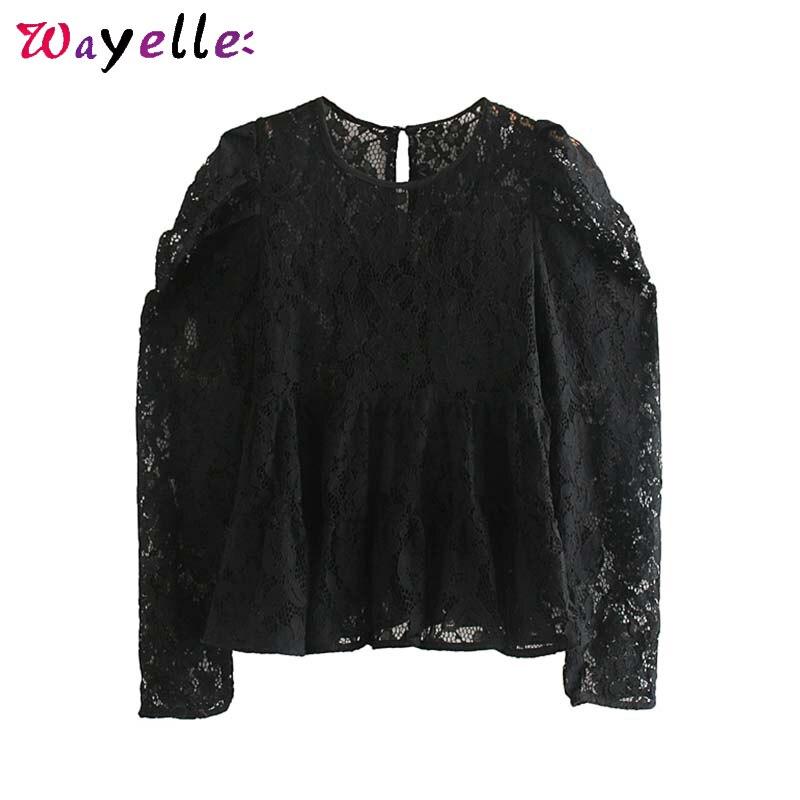 Sexy Transparent Crop Top Women Autumn Black Lace O-Neck Long Sleeve Women Shirts Vintage Basic Elegant Women Tops Blusas Mujer