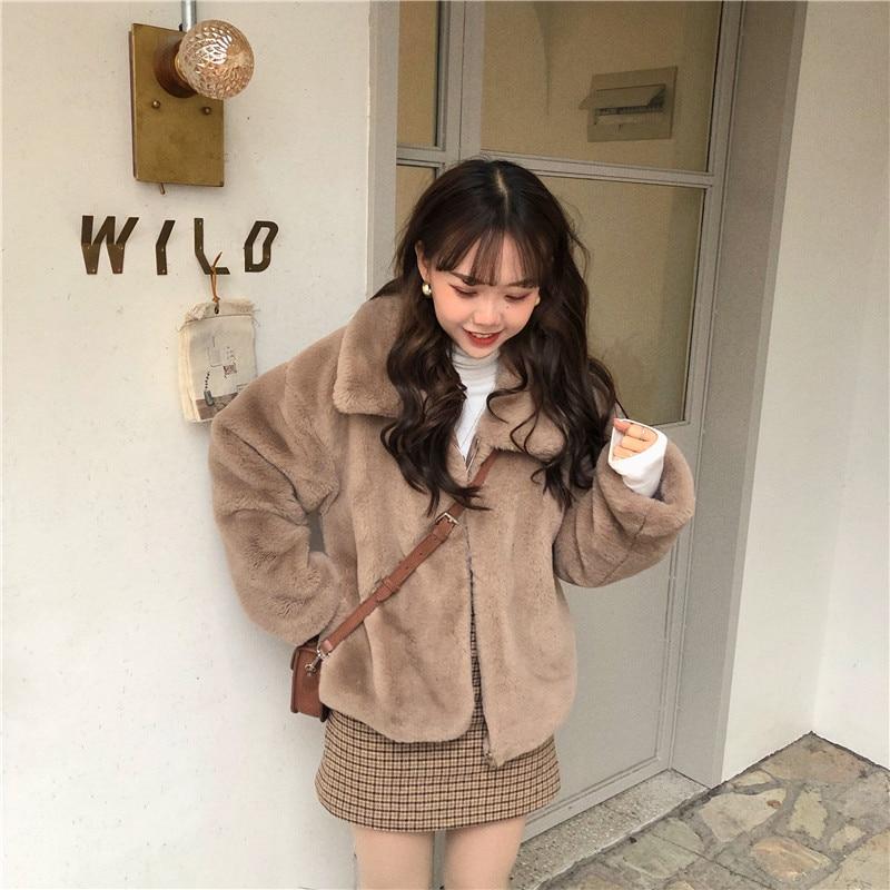 2020 Women Winter Thick Faux Fur Coat Short Jacket Long Sleeve Thicken Warm Overcoat Loose Zipper