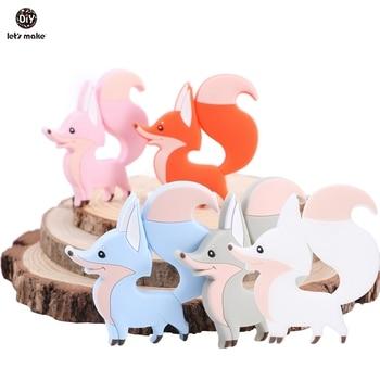 Let's Make 1pc BPA Free Silicone Teethers Tiny Rod DIY Necklace Cartoon Animals Fox Shape Teething Toys Food Grade Baby Teether недорого