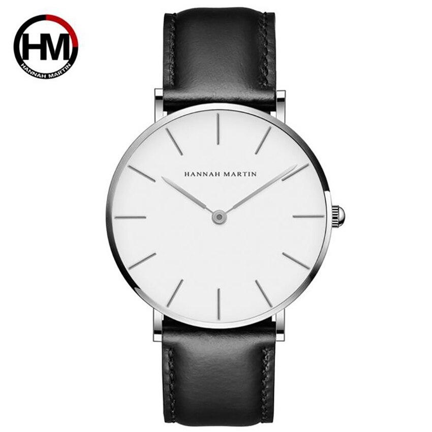 Hannah Martin Quartz Watches Black Belt Watch Fashion Watch Elegant Casual Leather Waterproof Wristwatch Zegarek Damski 2019