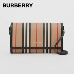 BURBERRY Icon Stripe E-Canvas Wallet Bags Embossed Lettering Detachable Leather Strap Crossbody Shoulder Bags For Women 80260041