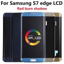Pantalla LCD AMOLED ORIGINAL para SAMSUNG Galaxy s7 edge G935A G935U G935F, digitalizador de pantalla táctil con quemadura roja
