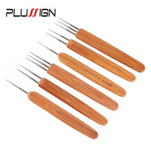 Plussign 3 sztuk Dreadlock szydełko blokada igły Braid Craft przedłużanie włosów tkactwo narzędzie bambusa zatrzask hak do mocowania Dreadlock