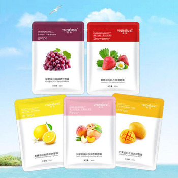 1Pcs Fruit Hyaluronic Acid Moisturizing Brightening Facial Mask Hydrating Mask Skin Care