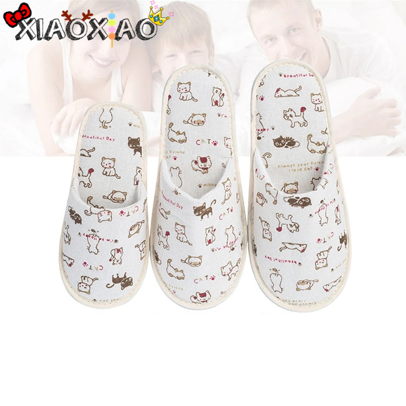 High Quality Linen Hotel Disposable Slippers Cat Print Thick Bottom Soft Slippers Home Hotel SPA Slippers Guest Serving Slippers