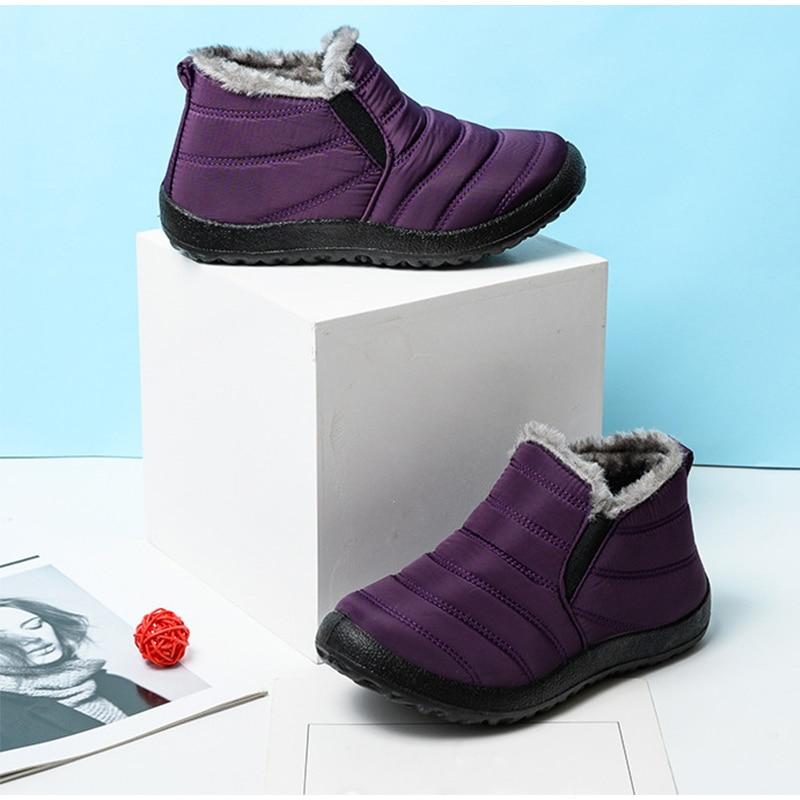 Snow Boots Women Shoes Warm Plush Fur Ankle Boots Winter Female Slip On Flat Casual Shoes Waterproof Ultralight Footwear 22