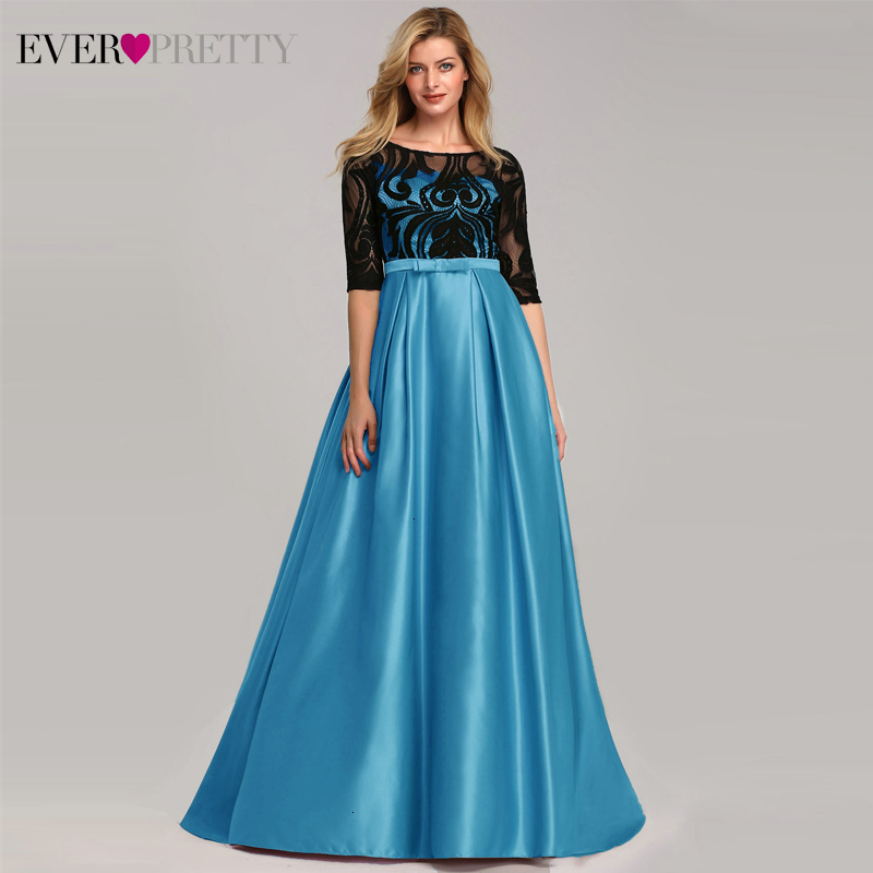 Sexy Satin Evening Dresses Ever Pretty A-Line O-Neck Half Sleeve Bow Black Lace Elegant Formal Evening Gowns Robe De Soiree